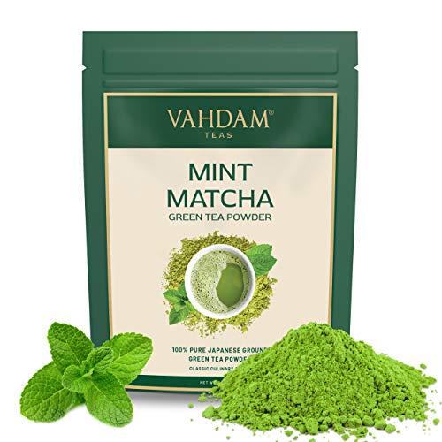 VAHDAM, tè verde alla menta matcha(100 g 50 tazze) | Polvere di tè matcha 100% PURE di origine giapponese | ANTI-OSSIDANTI 137x | Tè verde per perdita di peso | SUPER FOOD del Giappone