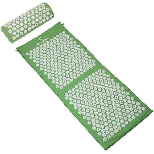Set per agopressione XXL tappetino + cuscino / dimensioni: 125x48cm tappetino yantra e 48x9cm cuscino / tappetino con punte di agopressione, set combinato di digitopressione per allentare e sciogliere efficacemente tensioni e contratture / 100% cotone / disponibile in diversi colori
