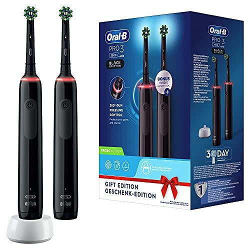 Oral-B Pro 3-3900 - Set Con 2 Spazzolini Elettrici Neri, 2 Spazzolini Con Sensore Di Pressione Dello Spazzolamento Visibile, 2 Testine Di Ricambio