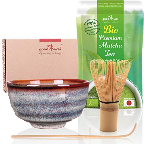 Goodwei Set di tè Matcha: 30g tè Matcha da Agricoltura Biologica con Ciotola per Matcha, Frullino e Cucchiaio di bambù (Uji)