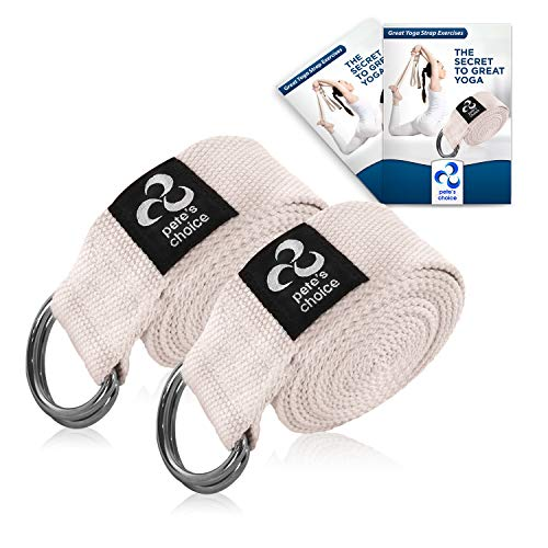 pete's choice Set 2 Cinghie da Yoga con eBook Incluso - Yoga Strap in Cotone Spesso e Resistente Regolabile I Accessori Yoga I Pilates e Stretching - Lunghezza 2,4m I Cinghia da Yoga