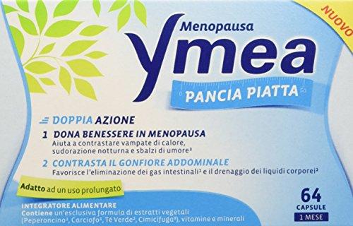 Ymea Pancia Piatta Integratore Alimentare, Pastiglie Anti Gonfiore Addominale, con Progressiva Riduzione delle Vampate di Calore, 64 Capsule
