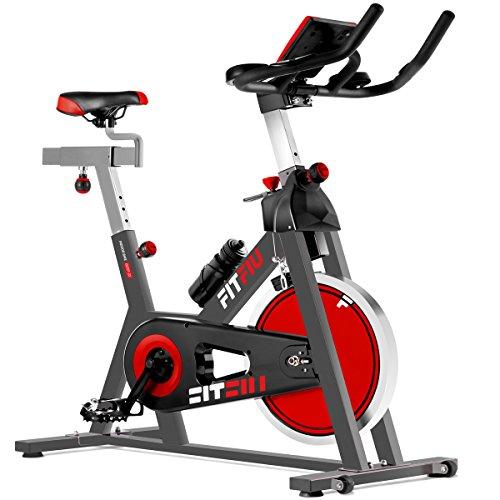 FITFIU Fitness BESP-22 Spin Bike Ergonomica con Volano da 24 Kg e Resistenza Regolabile, Bici da Allenamento Fitness con Sella Regolabile, Cardiofrequenzimetro e Schermo Lcd