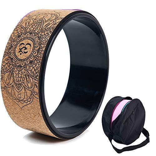 Ruota da yoga in sughero, accessorio naturale e confortevole per dharma pilates e per migliorare la flessibilità, set con borsa di montaggio, A