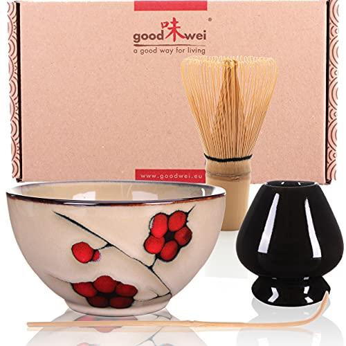 Goodwei Confezione Tè Matcha Giapponese - Set di Lusso Contiene Tazza da Cerimonia, Frullino di bambù e Porta Chasen (80, Plum)