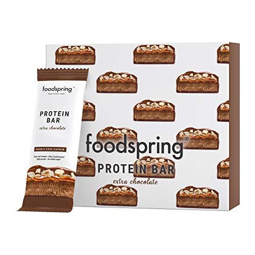 foodspring Barretta Proteica Extra Cioccolato, Doppio Cioccolato e Anacardi, 12x65g, con un ridotto contenuto di zuccheri e tante proteine