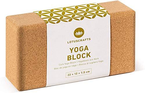 Lotuscrafts Mattoncini Yoga Supra Grip in Sughero - Prodotto Ecologico - Sughero Naturale al 100% Proveniente dal Portogallo - Blocco Yoga Sughero - Blocchi Yoga - Mattoni Yoga - Yoga Block (1 Pezzo)