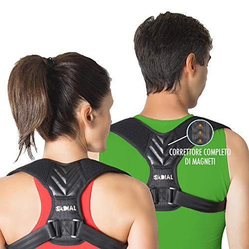 Correttore Posturale 7 Magneti DISP. MEDICO CE Uomo e Donna Cotone Traspirante Taglia Regolabile Con Barra Di Estensione Postura Corretta Sadial7®️