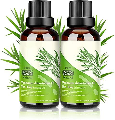 Tea Tree Oil Puro 100% Olio Essenziale Tea Tree 2 PACK - Olio di Acne Olio Essenziale di Albero del Tè Naturale Anti Acne e Brufoli Aromaterapia 30ML