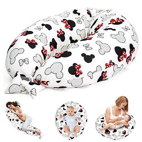 Cuscino Gravidanza per Dormire e Allattamento Neonato - cuscino premaman e Riduttore Lettino XXL (1. Bianco con Il Mouse, Grande (165 x 70 cm))