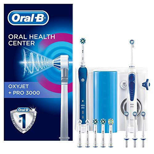 Oral-B PRO 3000 Kit per L'Igiene Orale Spazzolino Elettrico e Idropulsore Oxyjet con 4 Testine Oxyjet e 6 Testine di Ricambio per Spazzolino, Bianco / Blu