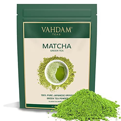 VAHDAM, Tè Verde Matcha (25 porzioni)  100% PURO Tè in Polvere Matcha Giapponese   137 Volte Più ANTIOSSIDANTI   Più Energia e Concentrazione   Per Detox e Perdere Peso   Superfood Giapponese   50g