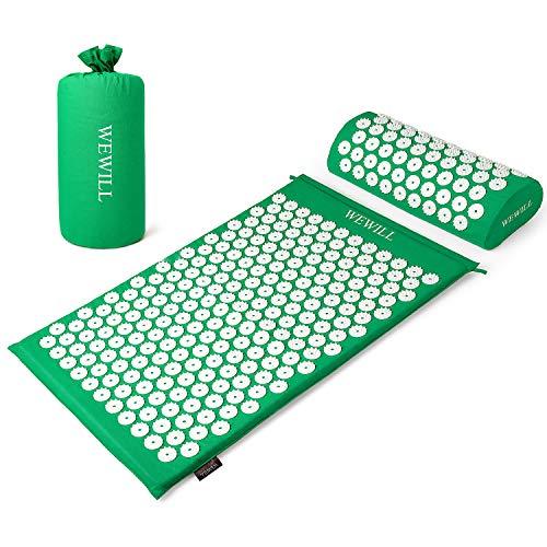 WEWILL Set Tappetino Agopressione Tappetino per agopuntura per Schiena/Collo/Piedi Sollievo dal Dolore e rilassamento Muscolare con Borsa per Il Trasporto,(Verde/Viola) (Verde)