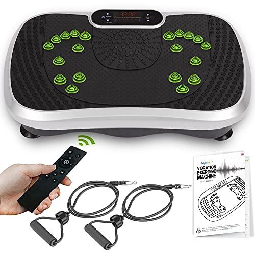 Fitness Pedana Vibrante Oscillante - Nuovo Modello, 5 Programmi, 99 Livelli - Dimensioni Ridotte - Altoparlanti Bluetooth, Bande di Resistenza, Telecomando - Pedana Vibrante Dimagrante per il Corpo