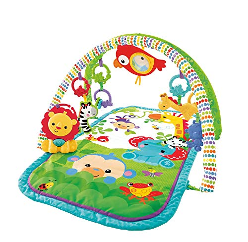 Fisher-Price Palestrina della Foresta con 3 Livelli di Gioco, 5 + 1 giocattoli, Musica e Suoni, Morbido Tappetino Facilmente Lavabile, per Neonati da 0+ Mesi, Imballaggio Sostenibile, GXC36