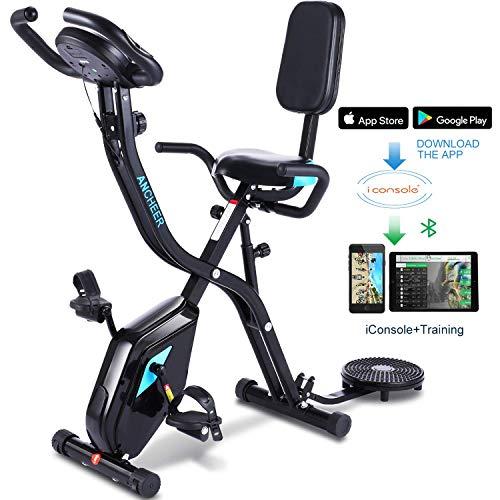 Profun Esercizio di Bicicletta Fitness Bici Spinning Bike Cyclette per Casa 2 in 1, Cyclette con Resistenza Magnetica Regolabile a 10 Livelli e Fasce da Allenamento, Indoor Cycling Bike con App