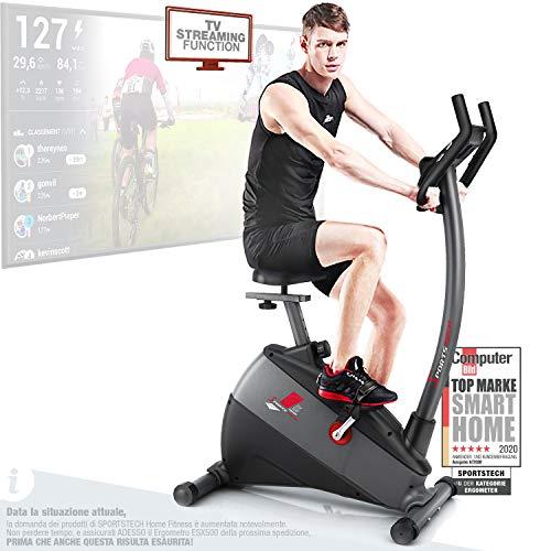 Sportstech Ergometro ESX500 Marchio di qualità Tedesco- Eventi Video e Multiplayer App+5,5' Display, Volano da 12KG, Compatibile Cintura pulsazioni -Cyclette silenziosa