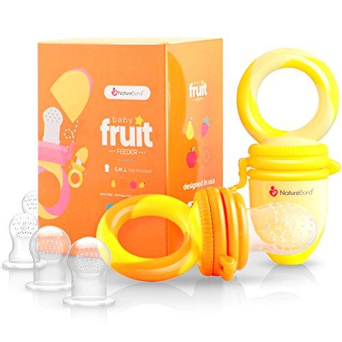 Ciuccio per Frutta Neonati Alimenti NatureBond (2 Pezzi) – Gioco per Stimolare la Dentizione dei Bambini in Colori che Stimolano l'Appetito | Include i Sacchetti in Silicone di Tutte le Taglie