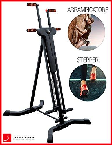 Sportstech Innovativo Stepper & Climber VC300 2in1, Fitness, movimenti per arrampicata, pieghevole Design multifunzionale, prese antiscivolo, per allenamento HIT e di tutto il corpo Qualità garantita