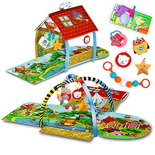 LIONELO Agnes 2 in 1 Palestrina neonato casetta con tappetino per neonati e bambini con massaggiagengive giochi pendenti libricino interattivo corda con sonagli, multicolore