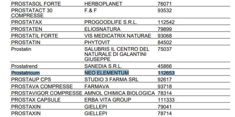 prostatricum registro degli integatori alimentari ministero della salute