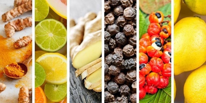 curcuma, agrumi, zenzero, pepe nero, guarana, limone
