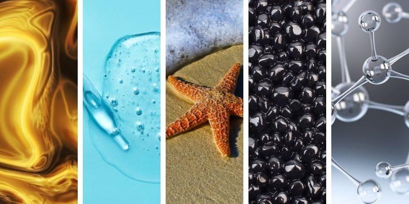 oro colloidale, acido ialuronico, estratto di stella marina, caviale, collagene