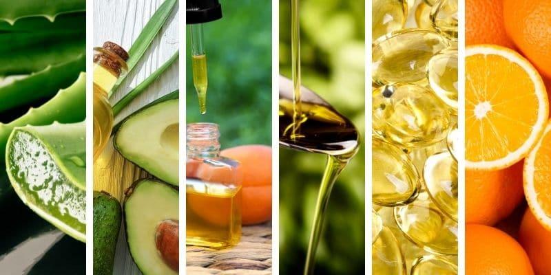 aloe vera, olio di avocado, olio di albicocca, oli vegetali, vitamina e, vitamina c