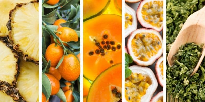 ananas, kumquat, papaya, maracuja, te verde